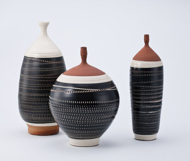 Kondo Yutaka, Black & White vase glazed stoneware