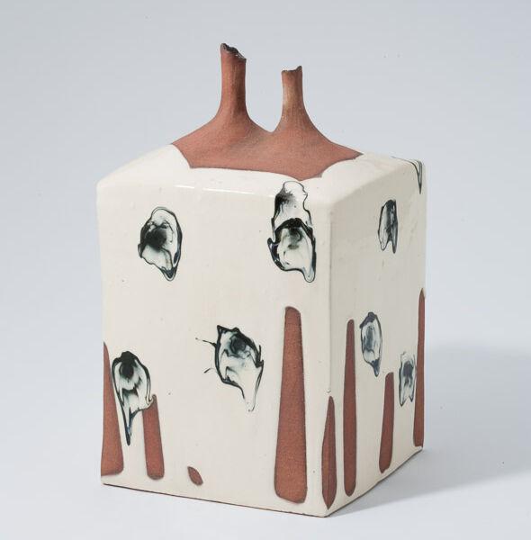 Kondo Yutaka, Rectangular black & white vase with double tubular mouths